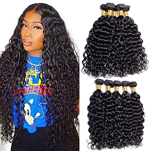 Maxine 9a Malaysian Water Wave Hair Malaysian Virgin Hair Bundles Deals Unprocessed Human Hair 4 Bundles Natural Black Color for Black Women(16 18 20 22 inch)
