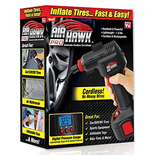 Ontel Air Hawk Pro Automatic Cordless Tire Inflator Portable Air Compressor, Easy...