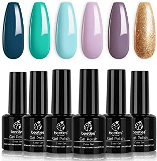 Beetles Gel Nail Polish Set, Treasure Chest Collection Turquoise Lilac Shade Glod Shimmer Soft Blue Nail Gel Polish Nail Art LED Soak Off Gel Color Set, 7.3ml Each Bottle