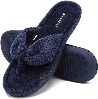 60d06d330e95 CIOR Fantiny Women s Cozy Memory Foam Spa Thong Flip Flops House Indoor  Slippers Plush Gridding Velvet