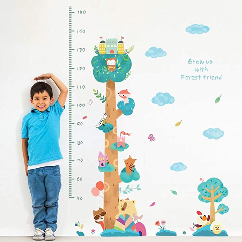 Decalmile Animals Tree Height Chart Kids Wall Stickers Removable Wall Decals Baby Nursery Childrens Bedroom Living Room Wall Decor