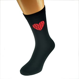 Red Jigsaw Heart Design Printed in Red Romantic Valentine Mens Black Cotton Rich Socks