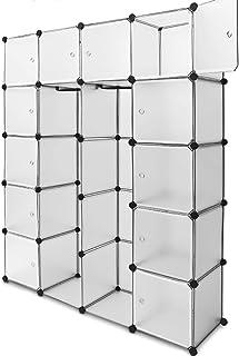 Deuba Armoire penderie Cubes Etagere Rangement Plastique modulables Cadre en métal 150x115x37cm Blanc Noir Rose Bleu