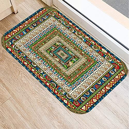 OPLJ Geometrischer Teppich Küchenteppiche Fußmatten Vintage Willkommen Fußmatten Teppich im Flur Bodenmatte für Fußmatte A5 40x60cm