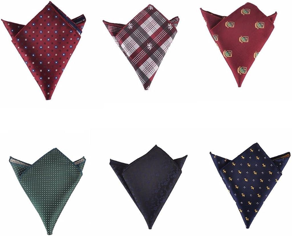 Hello Tie Men's Jacquard Pocket Squares Handkerchiefs 6pcs/lot Multicolor