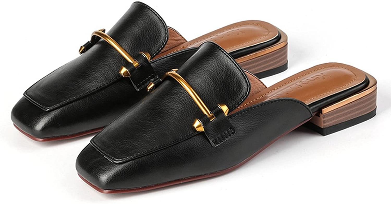 GIY Womens Faux Leather Slip-On Mules Slippers Round Toe Loafers Slides Backless Flats shoes
