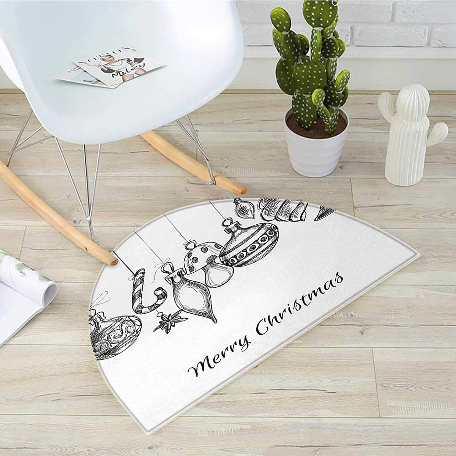 Christmas Semicircle Doormat Sketchy Hand Drawn Classical Ornaments Hanging from Strings Celebration Text Halfmoon doormats H 39.3  xD 59  Black White