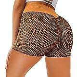 TIK Tok Leggins Push Up para Mujer, Pantalones Cortos Yoga Mujer Mallas de Deporte de Mujer Elásticos Cintura Alta Pantalon para Running Gym Fitness(M,Caqui)