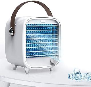 Mini Enfriador de Aire Acondicionador de Aire Móvil, Ventilador de Escritorio, Velocidad de Ajuste Continuo Función de Luz Nocturna, Diseño de Bajo Ruido para Dormitorio de Oficina en Casa