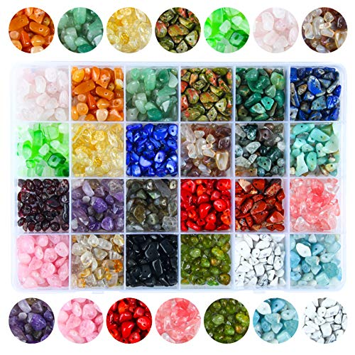 Colle 24 Colors 1200Pcs Natural Crystal Rock Beads for Jewelry Making Supplies, Healing Gemstones Waist Bracelets Necklace Kit Irregular Chips Stone Box Set