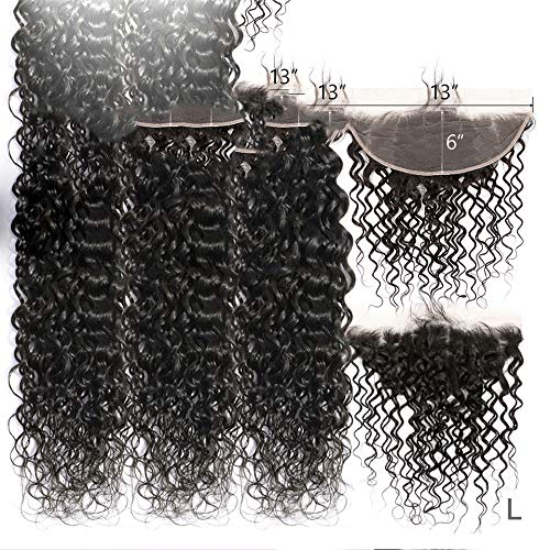 Frontal de encaje 13x6 con paquetes Onda de agua brasileña 3/4 paquetes con frontal Remy Cierre frontal de oreja a oreja con paquetes, color natural, 10 10 10 y cierre8