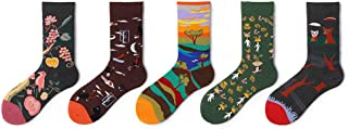 liangzishop, Calcetines Paquete de 5 suave de la vendimia calientes de los calcetines de punto frío Calcetines, la novedad de la impresión ocasional acogedor calcetines, unisex multicolor, tamaño libre Sock