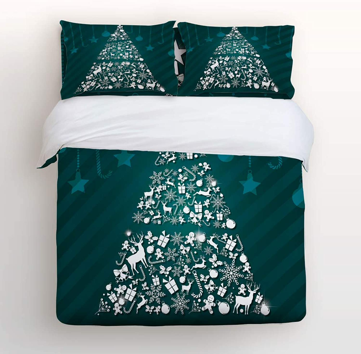 LEO BON Duvet Cover Set Twin Size Christmas Theme,Green Dream Christmas Tree Floral Duvet Cover and Pillow Shams Bed Set