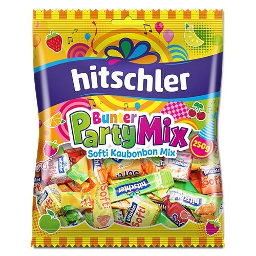 Hitschler Bunter Party Mix Kaubonbons Softi Streifen Softi Cubes 250g
