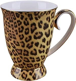YBK Tech Novelty Mug Bone China Porcelain Tea Cup Coffee Mug for Home Kitchen Office (Leopard print)