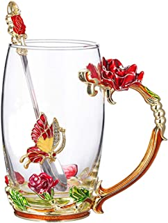 Lilyss Tea Cups Coffee Mug with Spoon for Women Girls, Crystal Glass Rose Flower Design Handmade Enamel Beautiful Coffee Tea Cup Set - Gift for Mom Wife Girlfriend Sisters Coworker (Red-Tall)