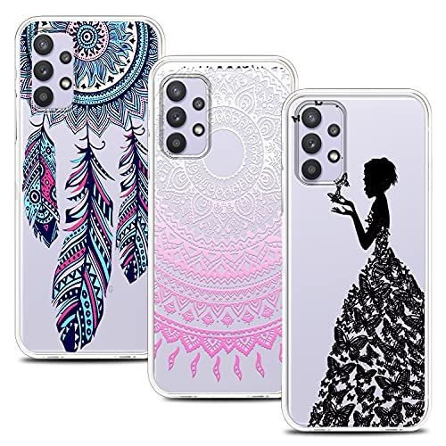 [3 piezas] Carcasa para Samsung Galaxy A32 4G, ultrafina, silicona transparente, funda antigolpes, diseño premium de TPU flexible (pluma azul, mariposa y mandala rosa)