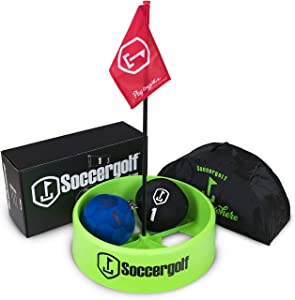 soccergolf - Build Your Own Course at Home, The Office or Out Front on Any Surface. Easy to Kick Soft Style Soccer Balls Won't Damage Anything, Soccer Golf