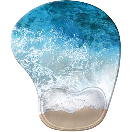 iCasso Ergonomic Mouse Pad with Gel Wrist Rest Support, Pain Relief Wrist Rest Pad with Lycra Cloth, Non-Slip PU Base, Easy Typing Mouse Pad for Office, Home, Laptop, Computer - Beach