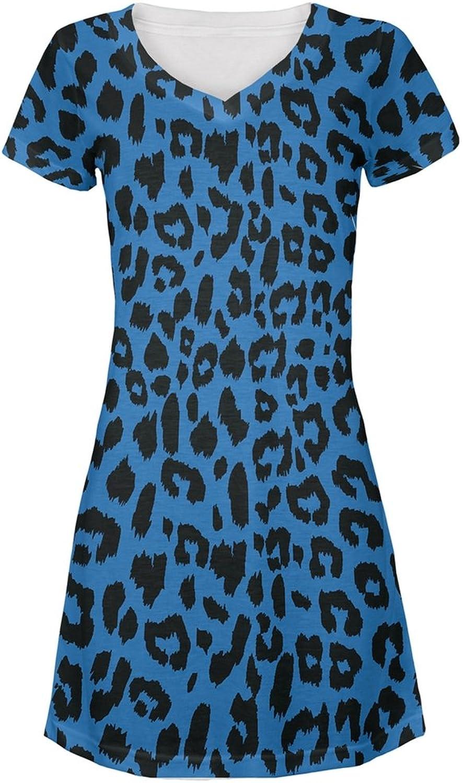 bluee Cheetah Print All Over Juniors VNeck Dress