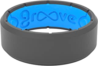 Groove Life Silicone Wedding Ring for Men - Breathable Rubber Rings for Men, Lifetime Coverage, Unique Design, Comfort Fit Mens Ring - Edge Original