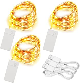 Soltuus 3 Pack Rechargeable 10ft 30 LED String Fairy Lights, 4 Modes Copper Wire Starry String Lighting, Waterproof Micro Firefly Moon Light, Warm White, Battery and USB Cable Included