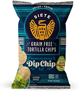Siete Grain Free Tortilla Chips, Gluten Free, Paleo, Vegan, Non-GMO, Dip Chips, 5oz. (Pack of 6)