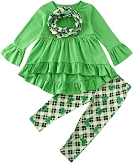Toddler Kid Baby Girls St. Patrick's Day Outfits Long Sleeve Top Blouse Dress Four-Leaf Clover Pants Scarf Set 6M-5Y