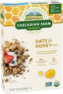 Cascadian Farm Organic Granola, Oats and Honey Cereal, 16 oz (Pack of 6)