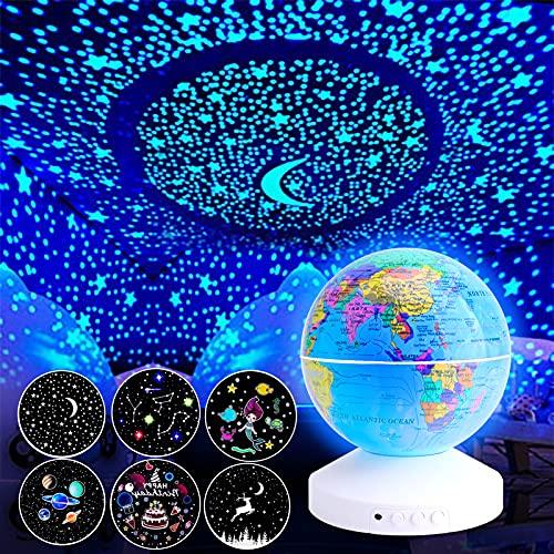 SANYOCZH Proyector Estrellas Bebe, Niños Luz Nocturna, Lámpara de Noche Giratoria con 6 Películas y Temporizador, Lindo Juguete y Regalo para Niños y Bebés para Cumpleaños, Navidad, Halloween