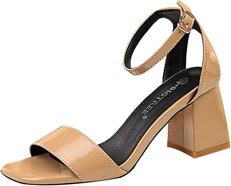 Owen Moll Women Pumps, Fashion Square High Heel Ankle Buckle 7cm Sandal shoes