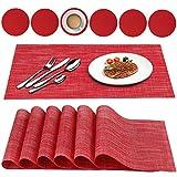 Oiwewly Conjunto de 12 manteles Individuales de Vinilo Antideslizante Resistente al Calor para la Mesa de Comedor de Cocina (Rojo)