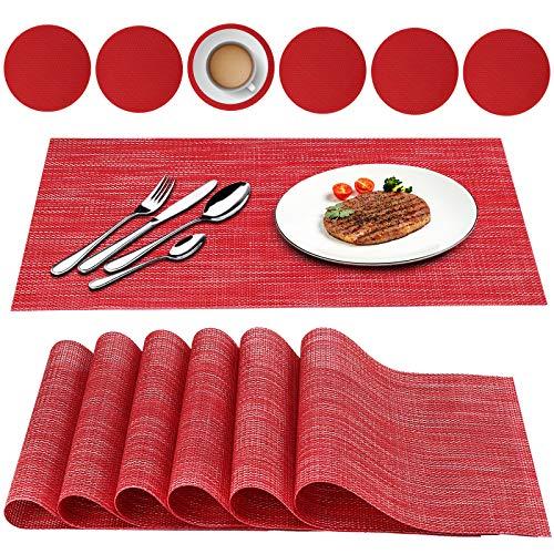 Oiwewly Set di 6 Tovagliette e 6 Sottobicchieri Americana Modern Plastica Lavabili, Facile Pulizia PVC Tovaglietta, Antiscivolo, Antimacchia, Resistenti al Calore 45x30cm (Rosso)