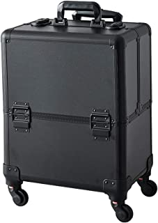 Makeup Case - Professional Folding Trays and Rolling Universal Wheels Cosmetic Storage Organizer with Aluminum Frame Black