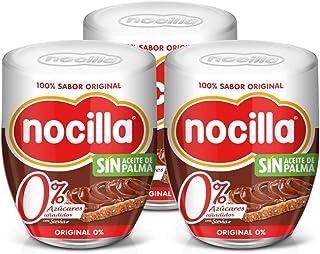 Nocilla Original 0% Azúcares Añadidos: Crema de Cacao Natural con Avellanas y Edulcorantes - Sin Aceite De Palma - 3 Envases de Vidrio Reutilizable de 190 gr. (Total 570 gr.)