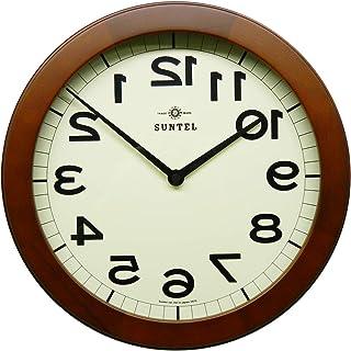 さんてる 掛け時計 ブラウン 直径330×45mm 脳トレ! 木製逆転掛け時計BR (ブラウン) QL889-BR