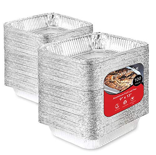 Aluminum Pans 9x13 Disposable Foil Baking Pans (100 Pack) - Half Size Steam Table Deep Pans - Tin Foil Pans Great for Cooking, Heating, Storing, Prepping Food