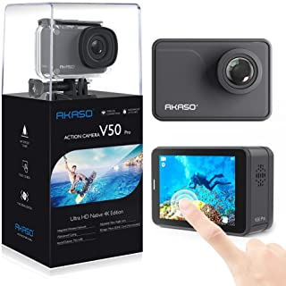 AKASO V50 Pro Native 4K/30fps 20MP WiFi Action Camera with EIS Touch Screen Adjustable View Angle 30m Waterproof Camera Support External Mic Remote Control Sports Camera with Helmet Accessories Kit