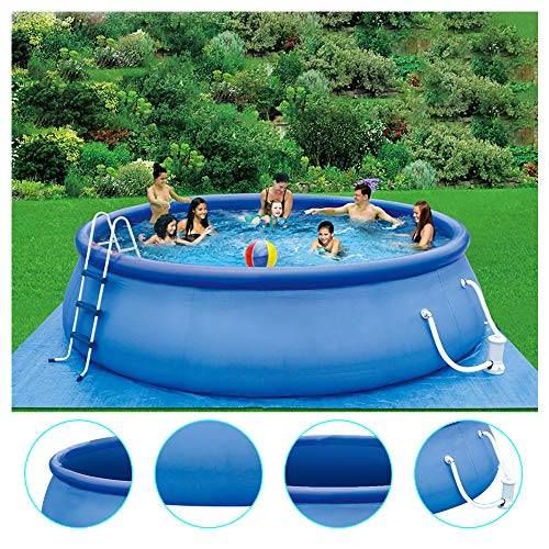 77JOK Summer Family Swimming Pool Party for Kids & Adults, 2020 New Inflatable Above Ground Swimming Pool with Filter Pump Ladder, Cover, 15ft x 36in Quick Set Inflatable Lounge Pool (Blue)
