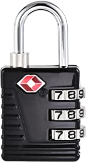 uxcell TSA Approved Luggage Locks 3-Digit Combination Travel Padlock Zinc Alloy Black 54x27x13mm