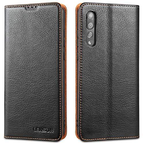 LENSUN Funda Huawei P20 Pro con Tapa, Funda de Cuero Genuino con Cierre Magnético y Ranuras para Tarjetas Carcasa Libro Protección para Teléfono Huawei P20 Pro - Negro (P20P-DC-BK)