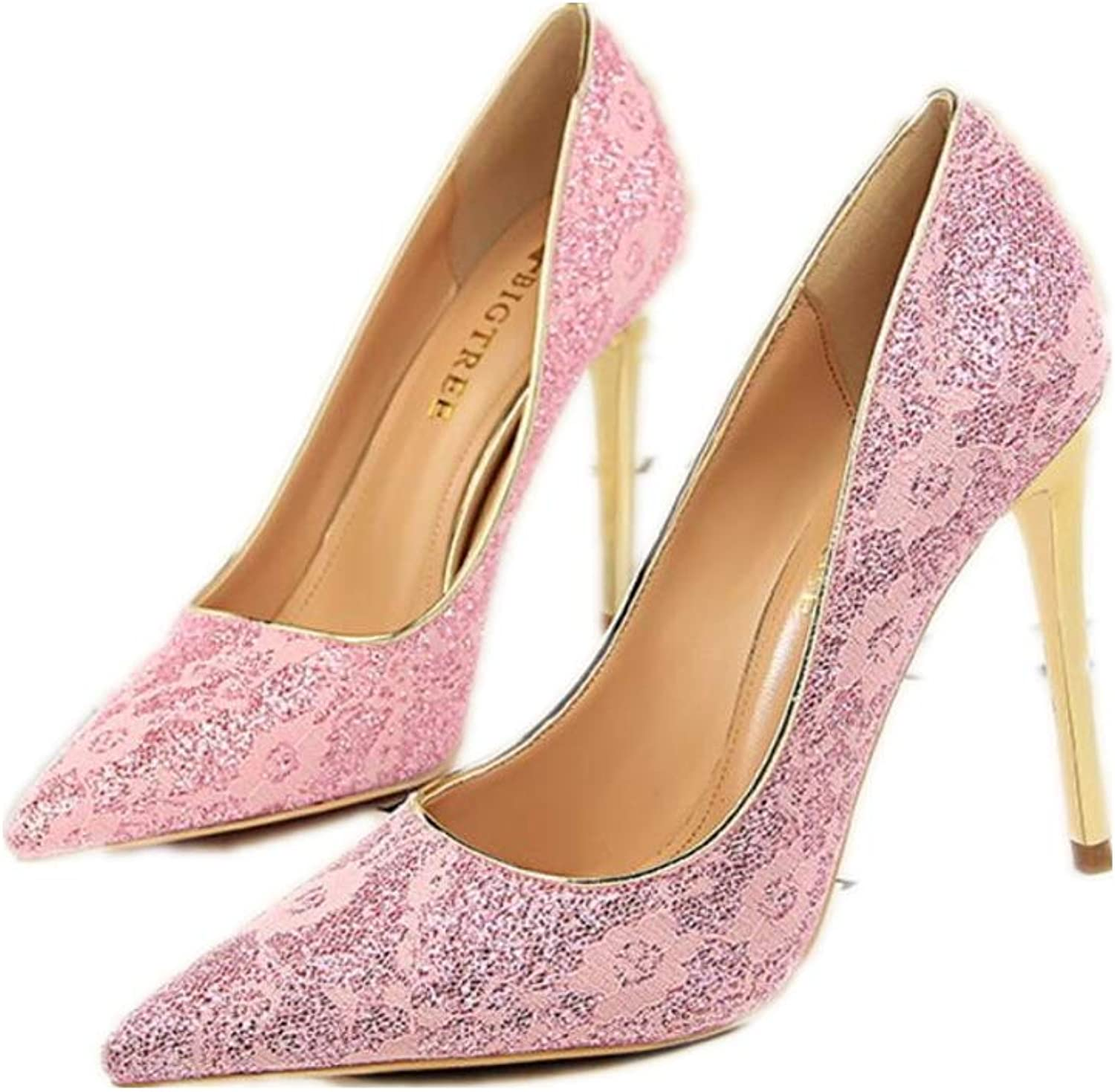 Lace Mesh Bridal Wedding shoes for Women Comfortable Mid Heel Pointy Toe Pumps