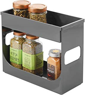 mDesign Plastic Spice and Food Kitchen Cabinet Storage Organizer - 2 Tier Caddy Rack with Removable Top Tray - Compact and Portable for Pantry, Shelves, Cupboards, Refrigerator - Charcoal Gray