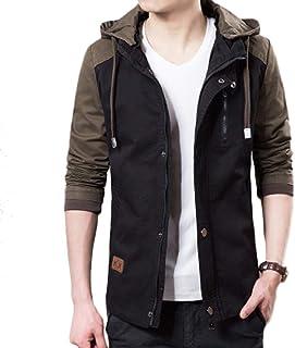 Mogogo Men's Fit Cotton Windbreakers Hooded Color Block Coat Jackets