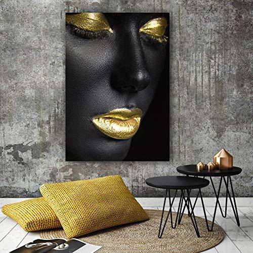 RTCKF Schwarz Gold Lippen Leinwand Malerei Wohnzimmer Poster und Druck Wandmalerei afrikanische Kunst Dekoration (kein Rahmen) A3 50x70cm