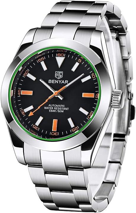 Orologi uomo di lusso automatico orologio meccanico uomini 50 m impermeabile benyar haiqin BY5176