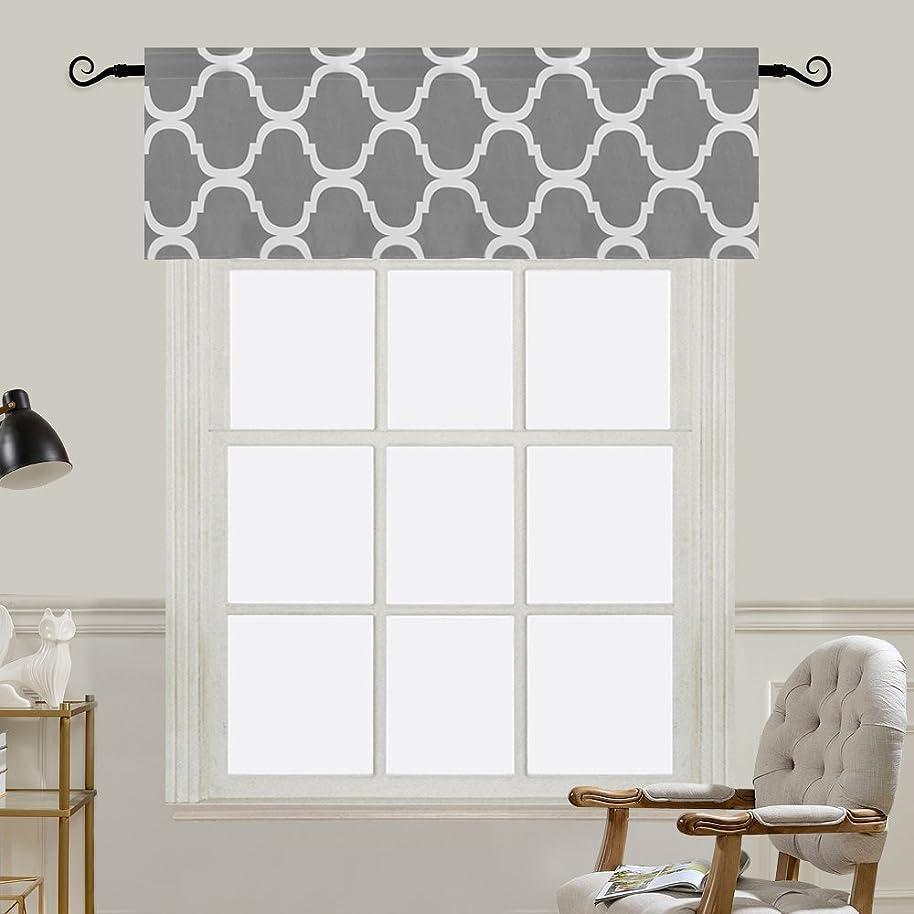 Melodieux Moroccan Fashion Room Darkening Rod Pocket Window Curtain Valance, 52 by 18 Inch, Grey (1 Panel)