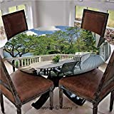 "Elastic Edged Polyester Fitted Table Cover,Home Patio Balcony with Peaceful Woods in Clear Sunny Sky Photo,Fits up 45""-56"" Diameter Tables,The Ultimate Protection for Your Table,White Green and Sky Bl"