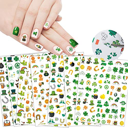 St. Patrick's Day Nail Art Stickers 3D Luxury Designer Self-Adhesive Clover Leprechaun Shamrock Nail Stickers Design for Women Girl Manicure Irish Decals Decorations for DIY Acrylic Nail Art 7 Sheets