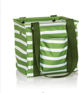 Thirty One Small Utility Tote - 9337 - No Embroidery - in Green Cabana Stripe